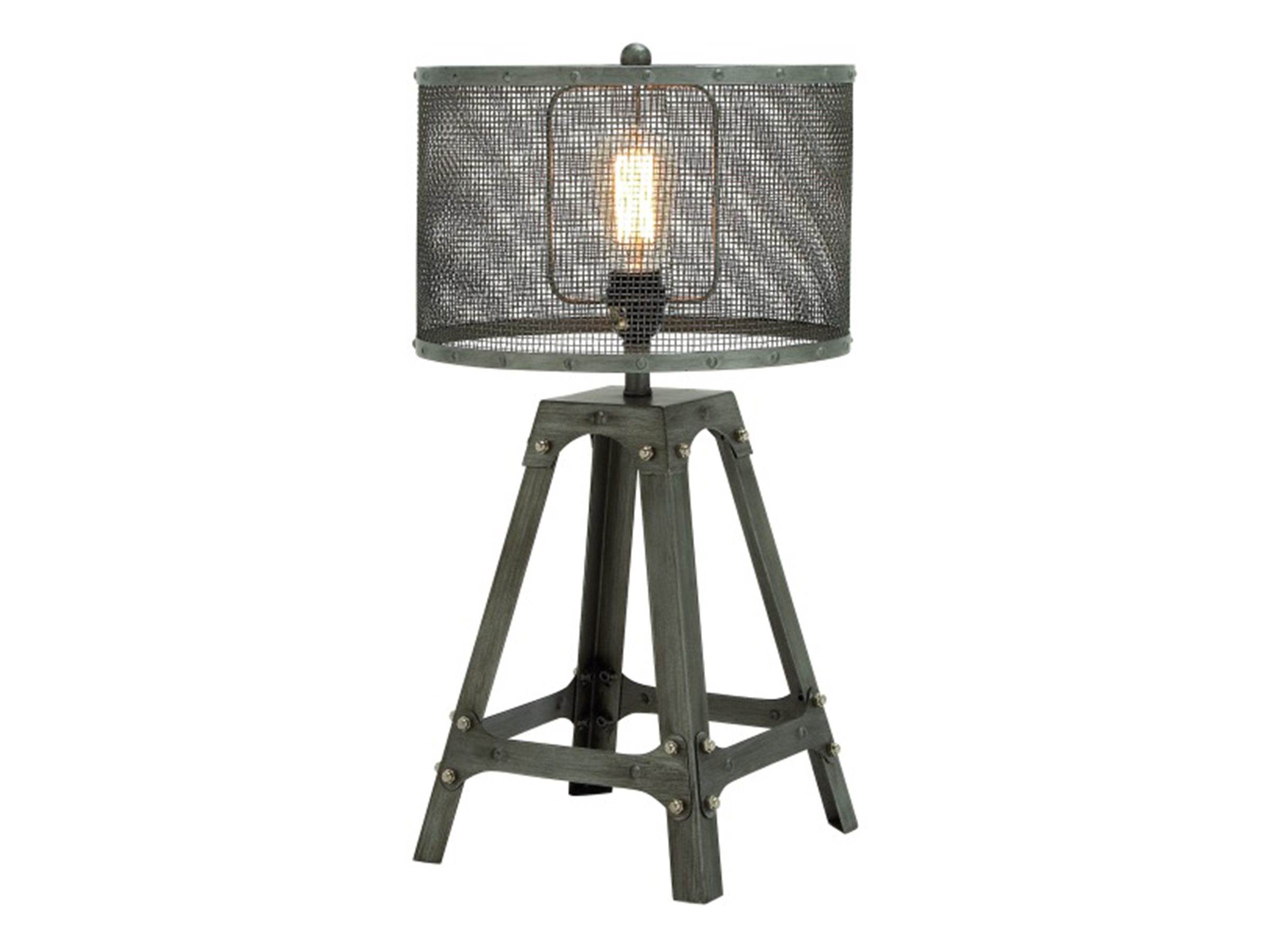 "Grey Industrial Metal Table Lamp 23""H"