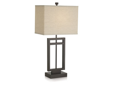"Bronze Metal Rectangular Table Lamp 31""H"