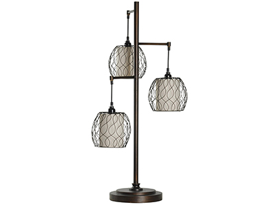"Bronze W/Caged Shades Table Lamp 37""H"