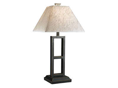 "Black and Gold Table Lamps Pair 27""H"