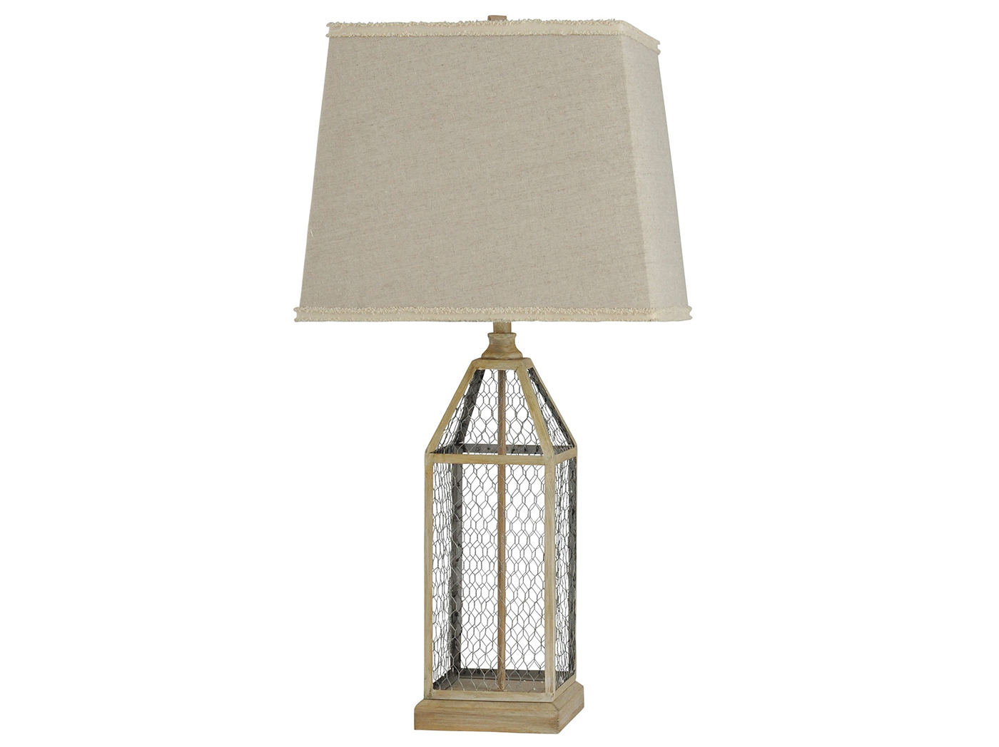 "Taupe Wood and Metal Cage Table Lamp 33""H"