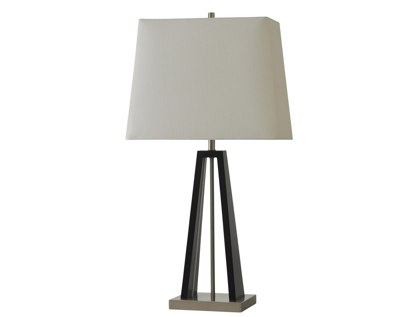 "Black Wood Table Lamp w/ LED Nitelite 32""H"