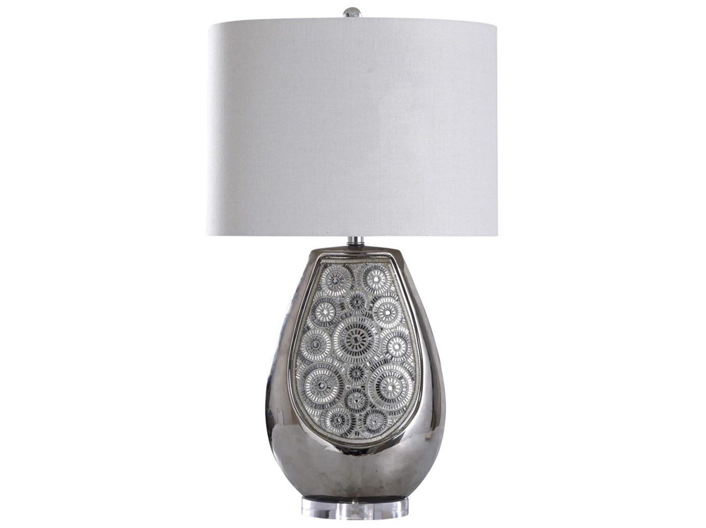 "Silver Bead Design Table Lamp 31""H"