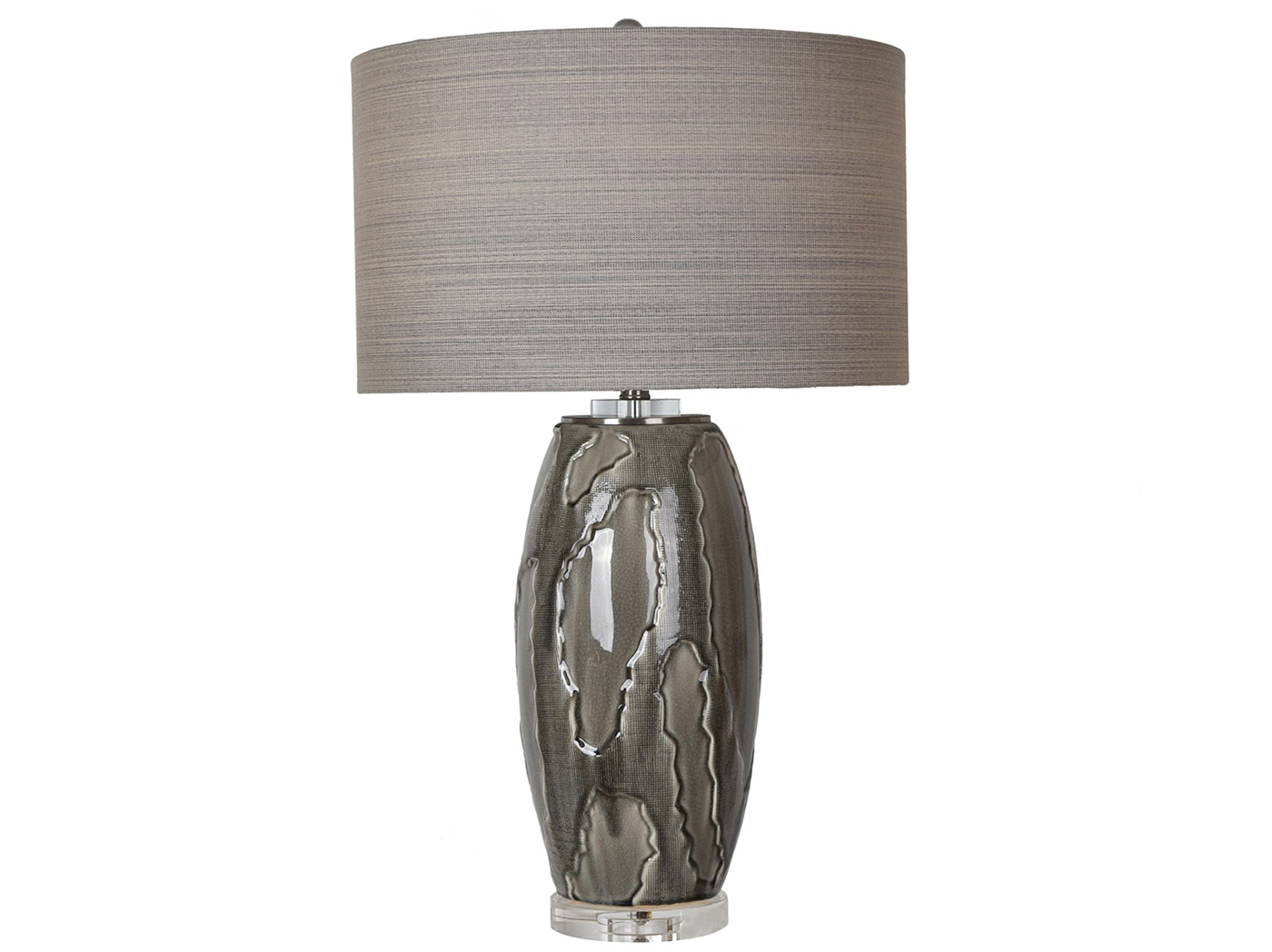"Grey Ceramic Table Lamp 32""H"