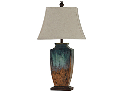 "Blue and Rust Ceramic Table Lamp 32""H"