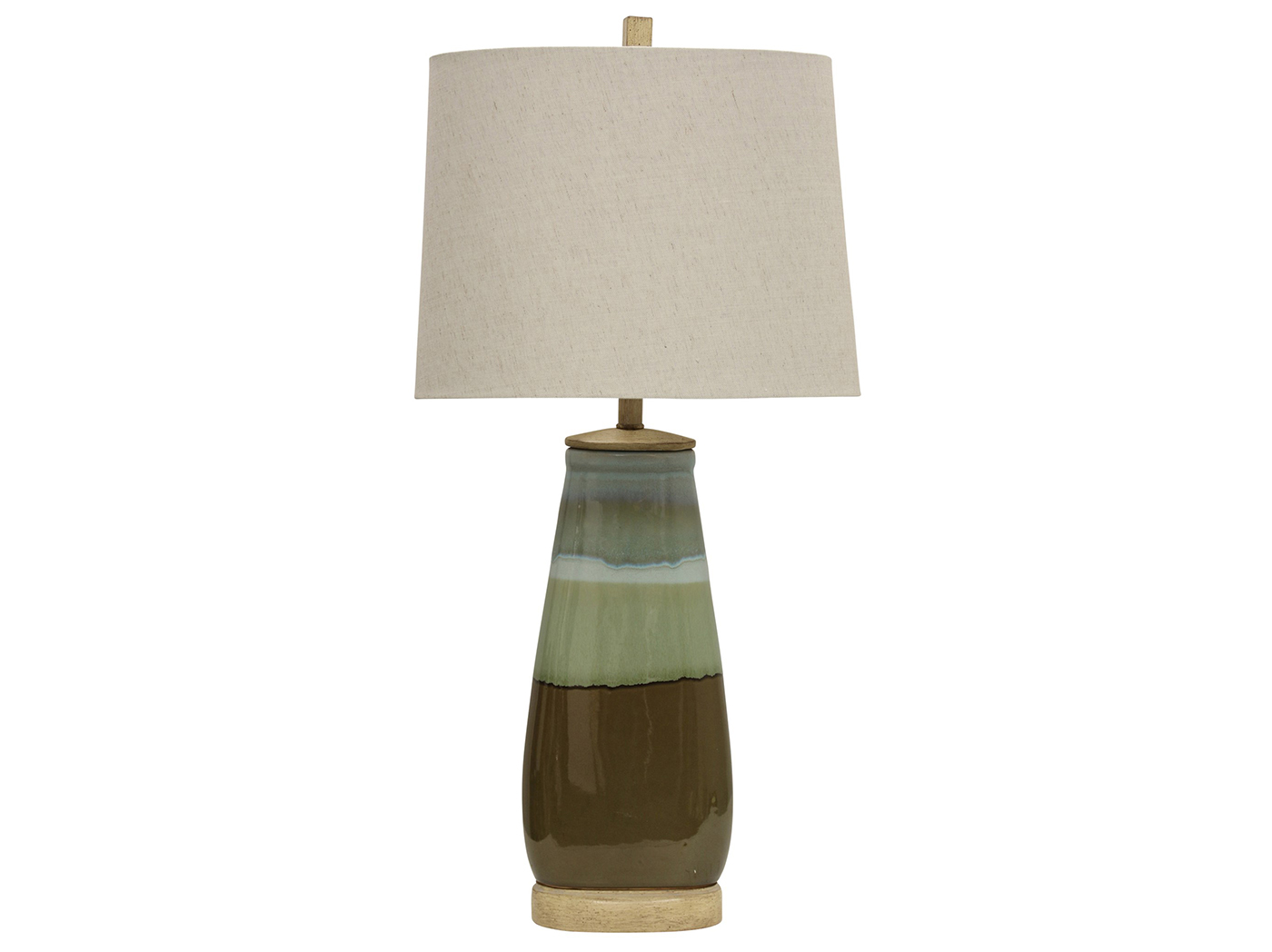 "Green/Brown Table Lamp 34""H"
