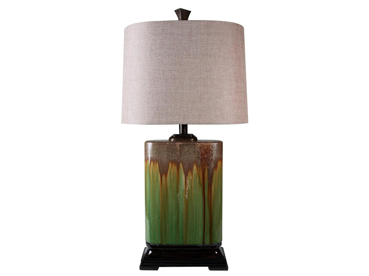 "Green Oval Ceramic Table Lamp 32""H"