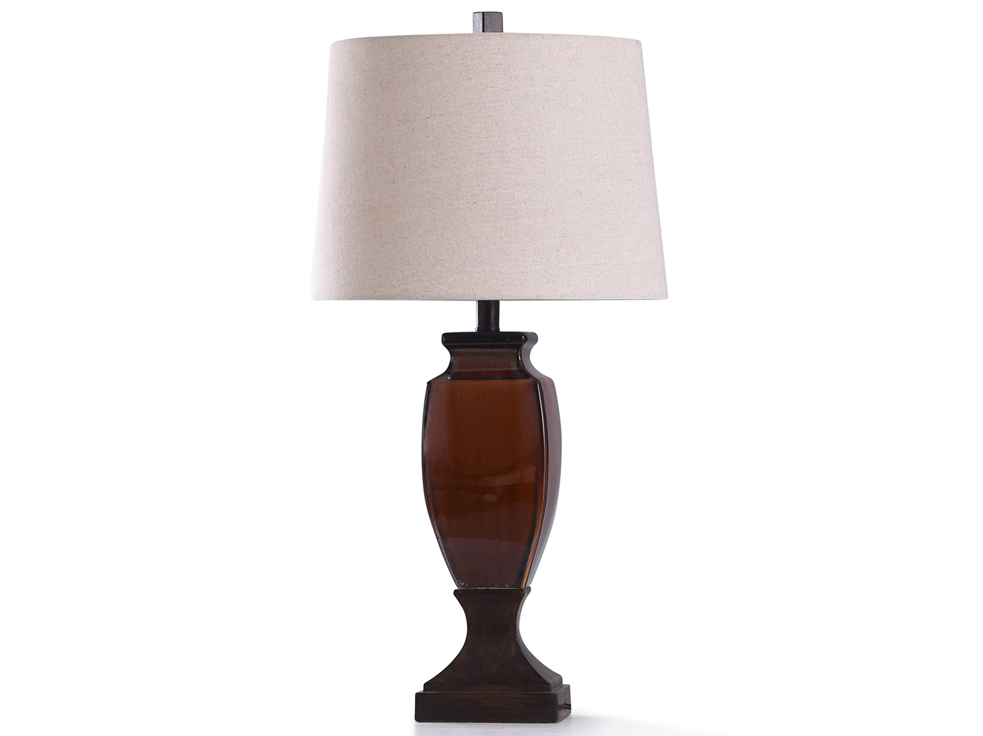 "Rust and Bronze Ceramic Table Lamp 30""H"