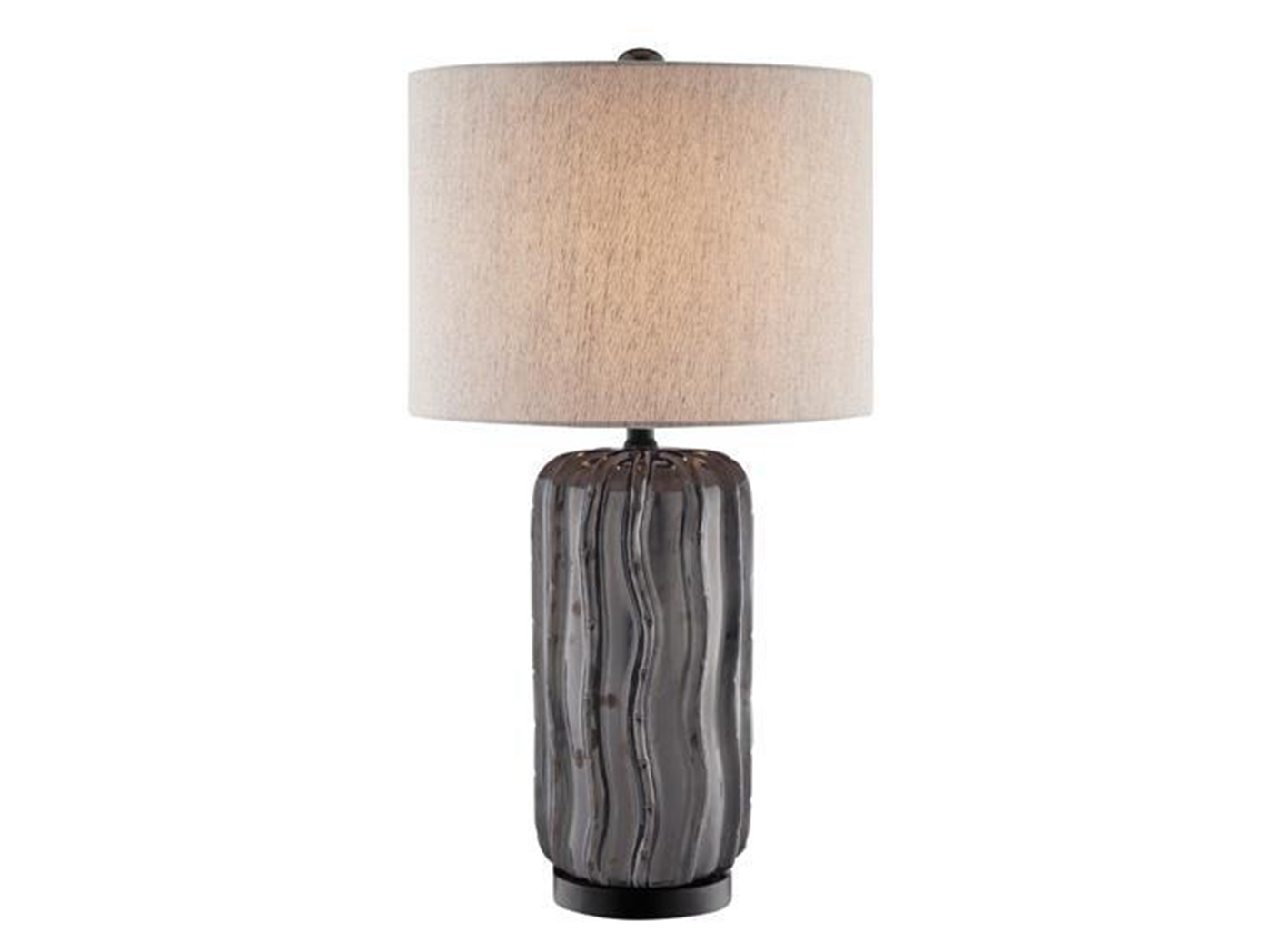 "Grey and Brown Ceramic Table Lamp 28""H"