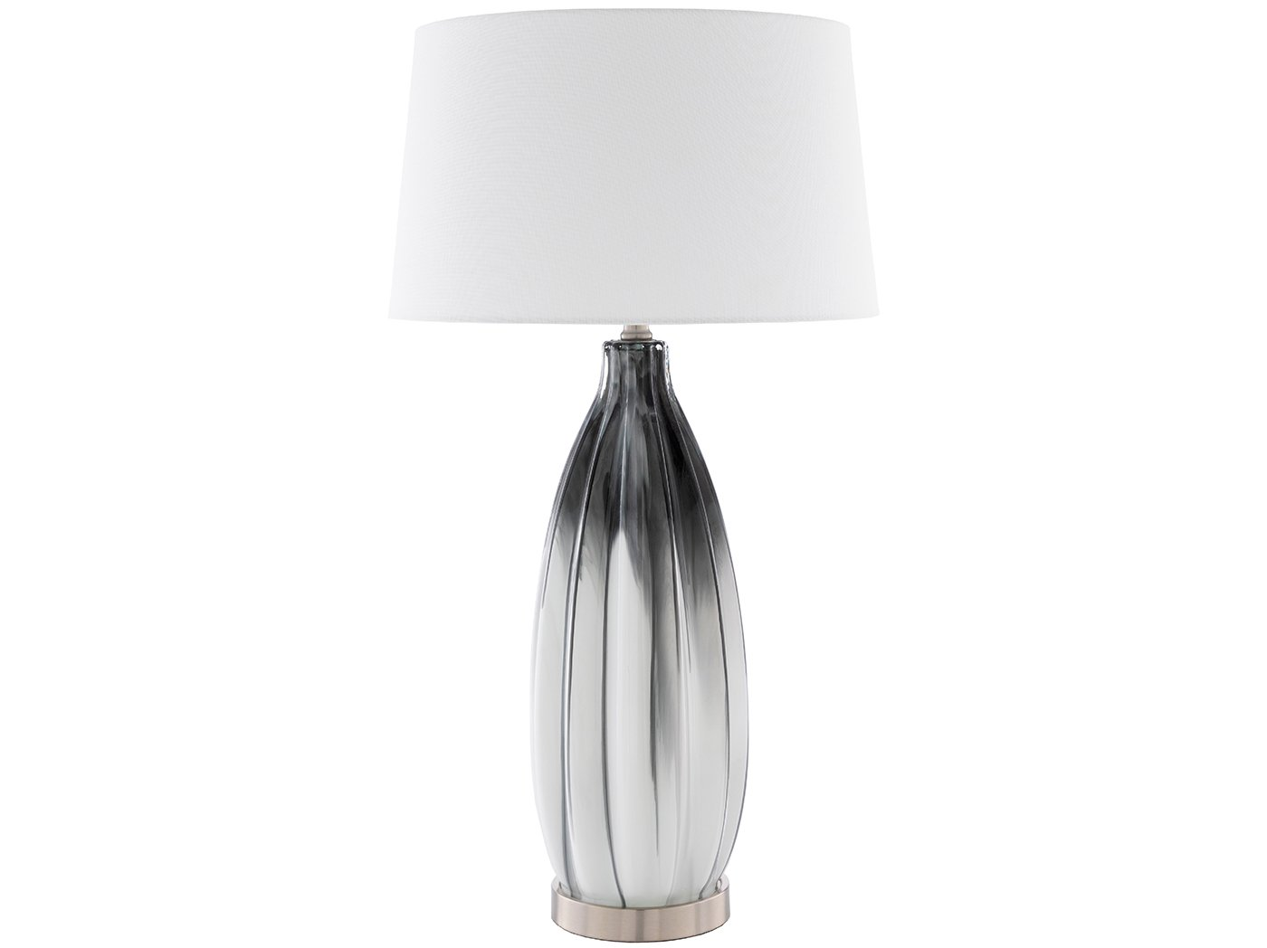 "Black and White Caramic Table Lamp 30""H"