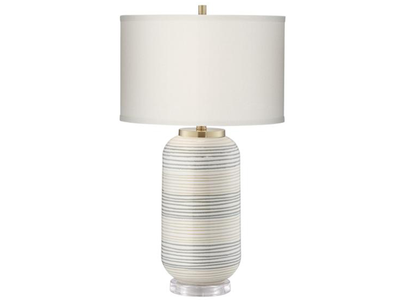 "Grey/Cream Striped Table Lamp 28""H"