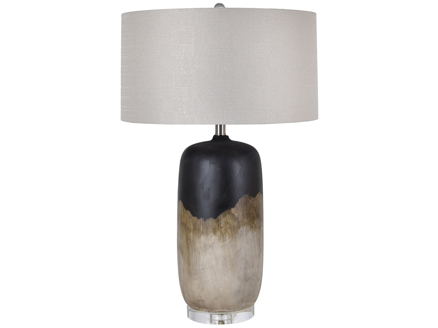 "Black and Ivory Ceramic Table Lamp 29""H"