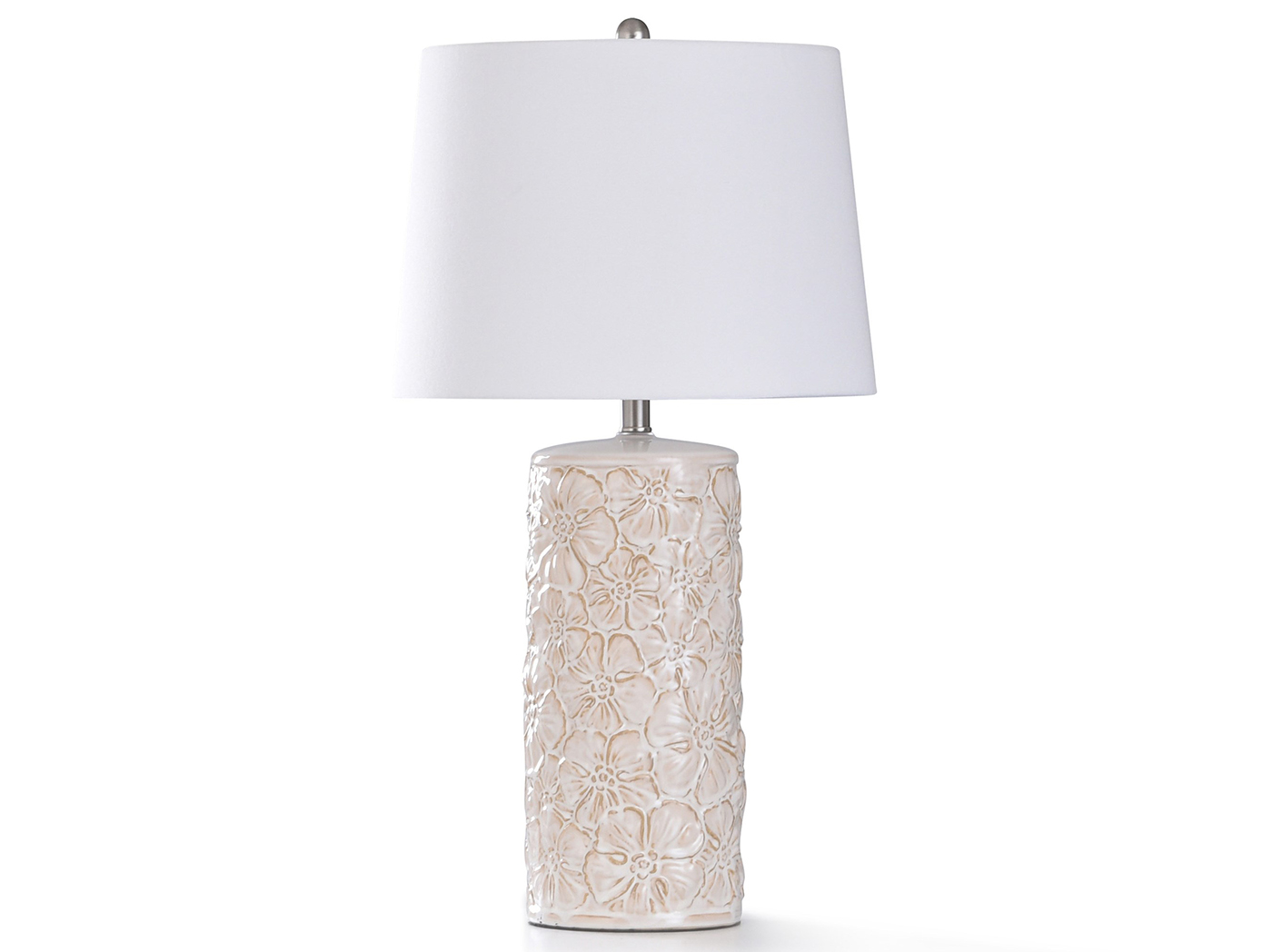 "Cream Floral Ceramic Table Lamp 31""H"