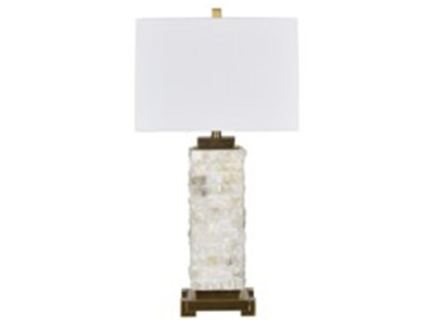 "Stone/Antique Brass Table Lamp 31""H"