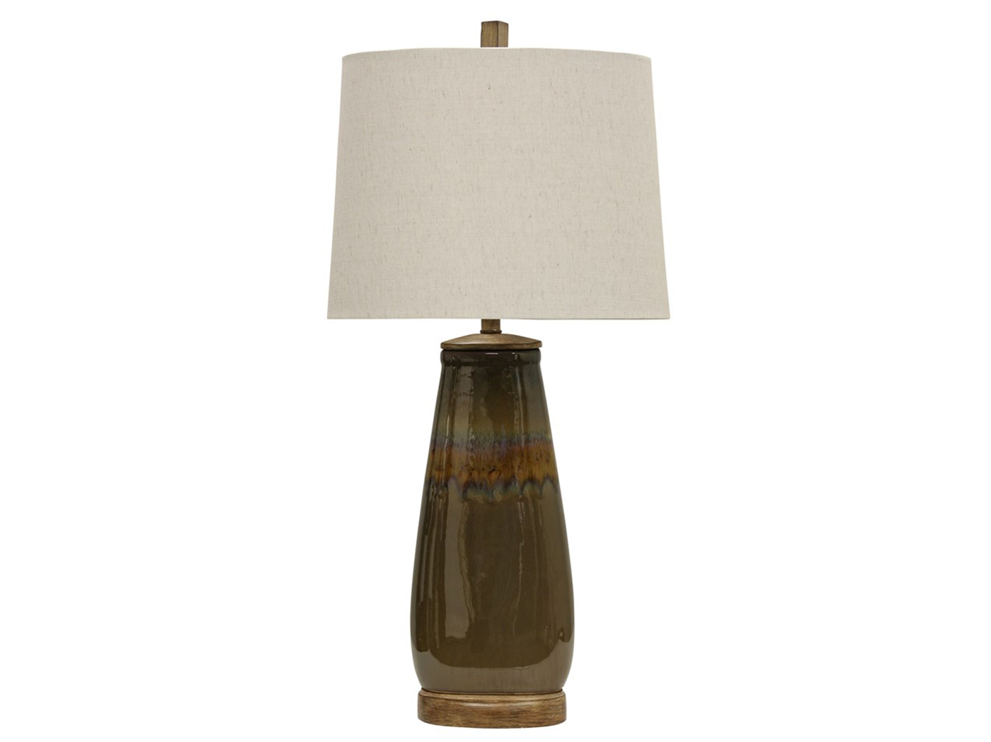 "Ceramic Brown Reactive Glazed Table Lamp 34""H"