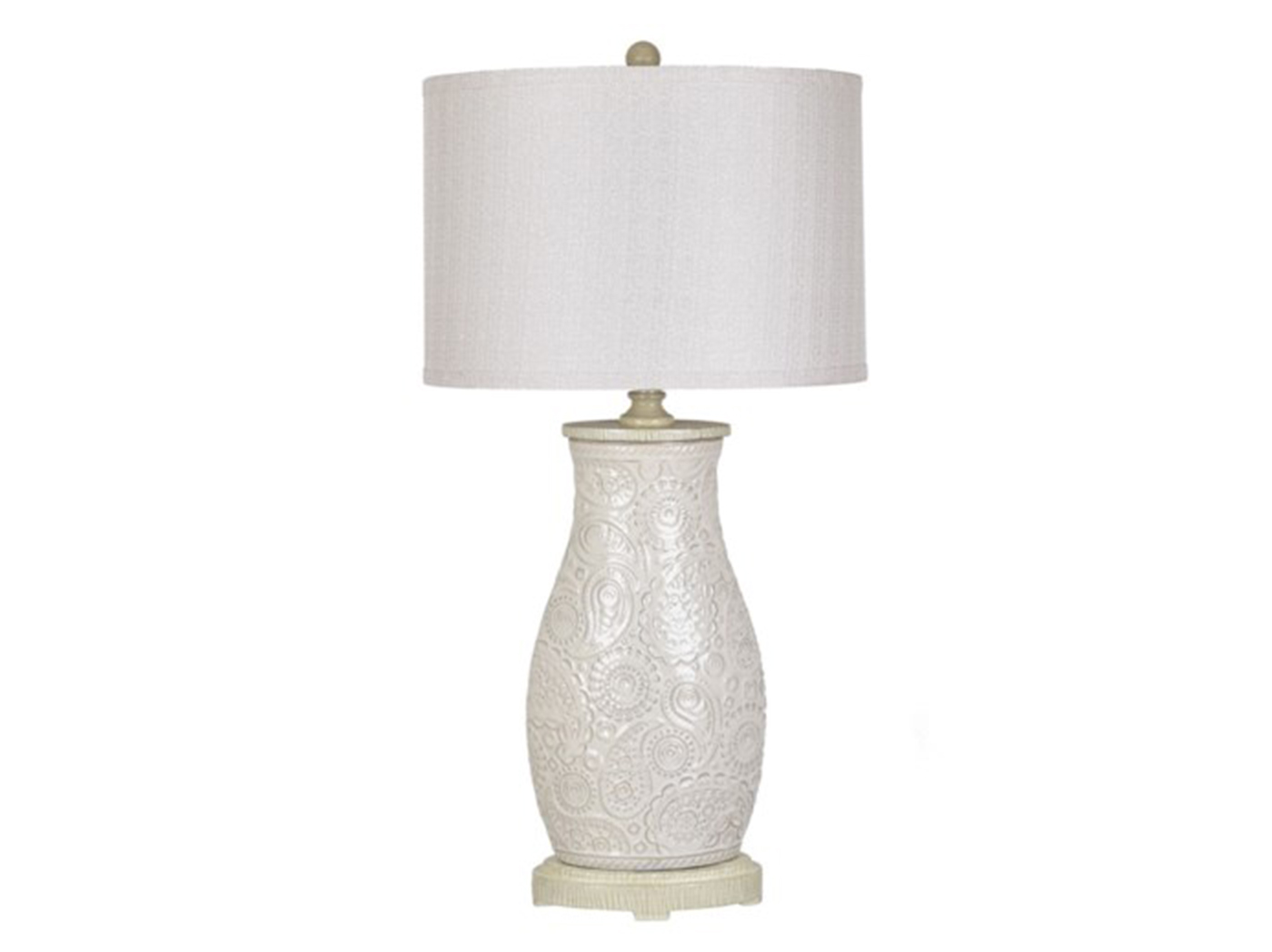 "White Paisley Ceramic Table Lamp 31""H"