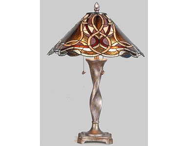 "Hope Purple and Pink Tiffany-Style Glass Table Lamp 30""H"