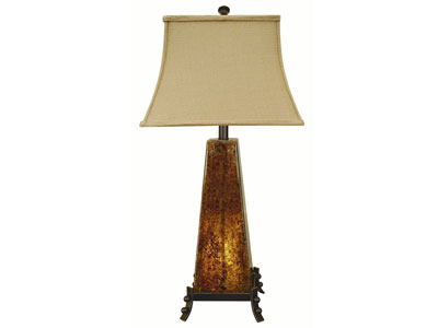 "Amber Rock Glass With Nite Lite Table Lamp 31""H"