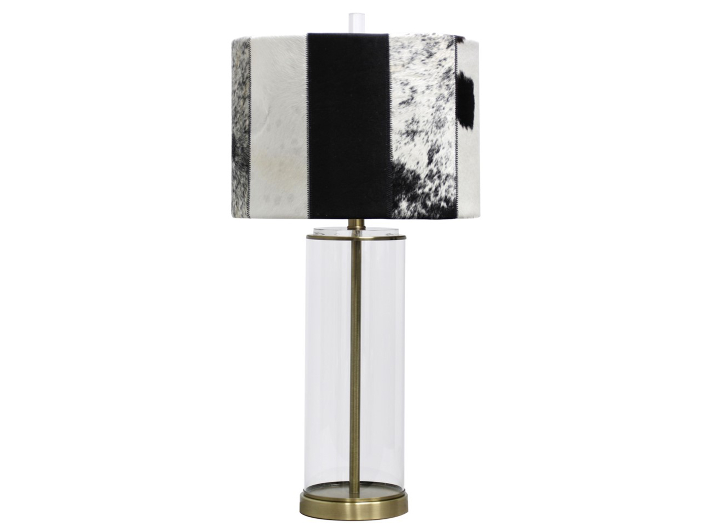 "Hair On Hide Shade Metal/Glass Table Lamp 29.5""H"