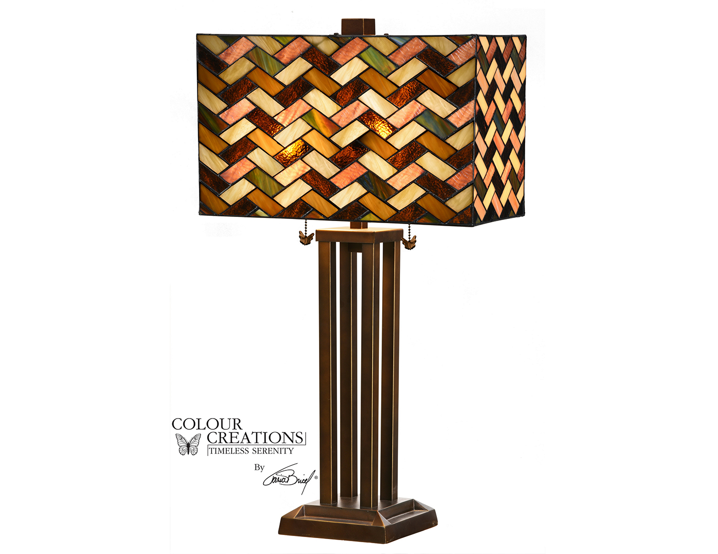 "Tiffany-Style Glass Table Lamp 28""H"