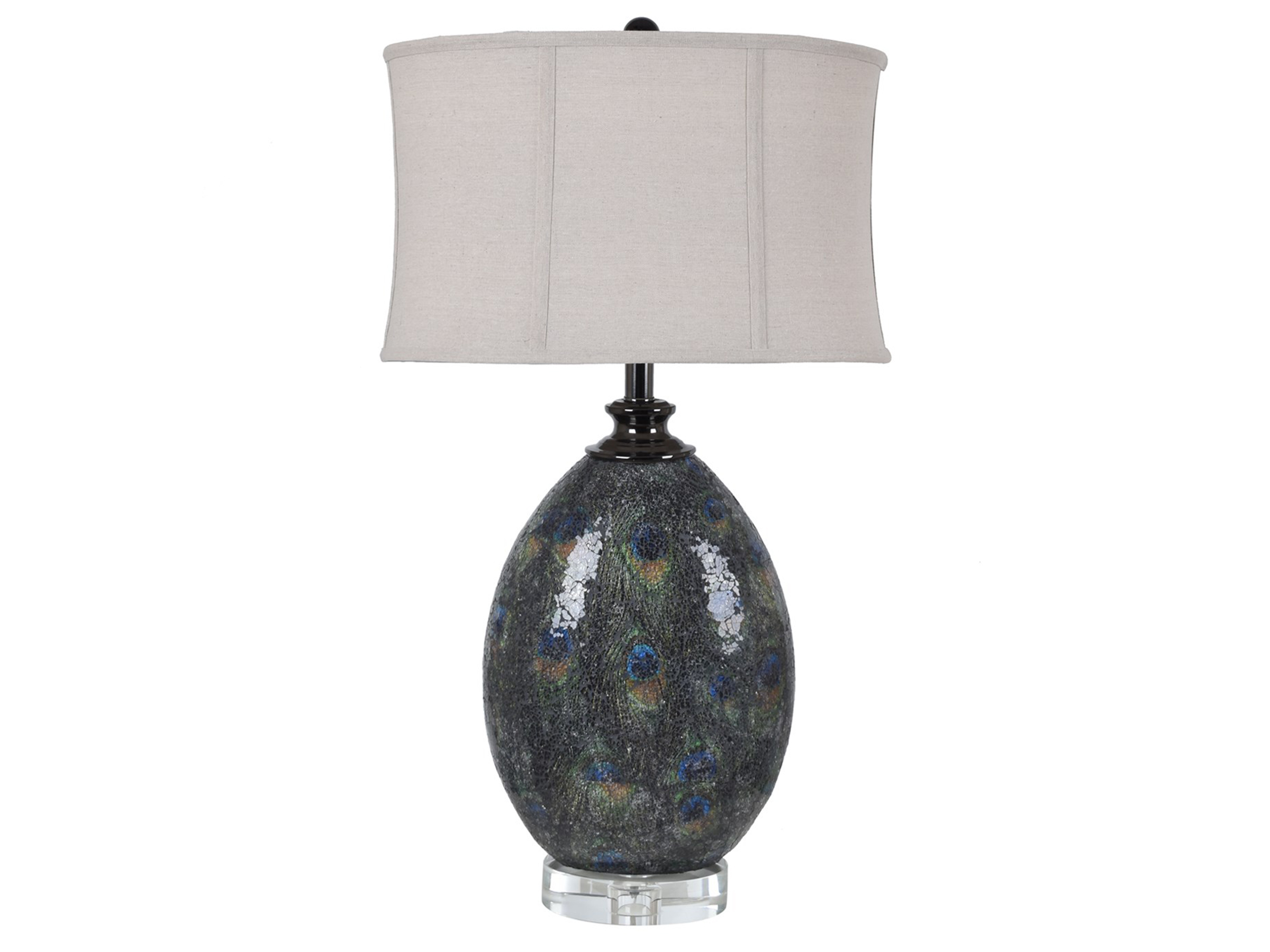"Peacock Crackle Finish Glass Table Lamp 30""H"