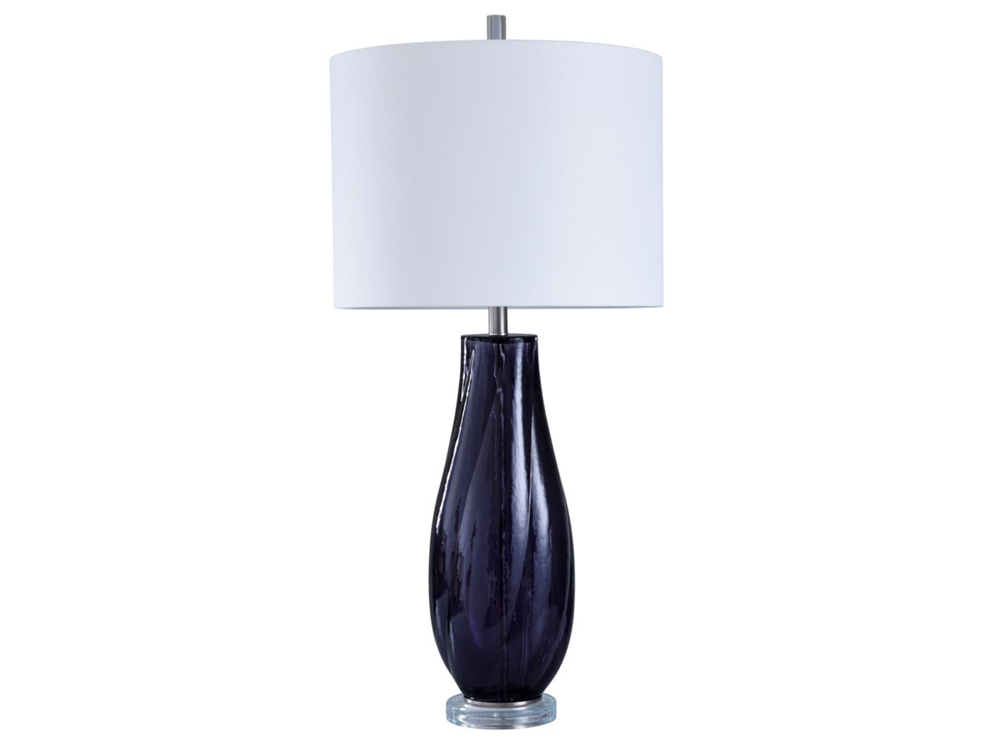 "Purple Glass Table Lamp 36""H"