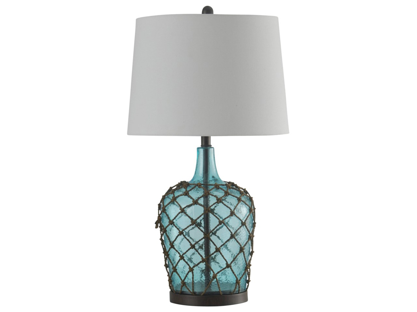 "Blue Glass Netted Table Lamp 29""H"