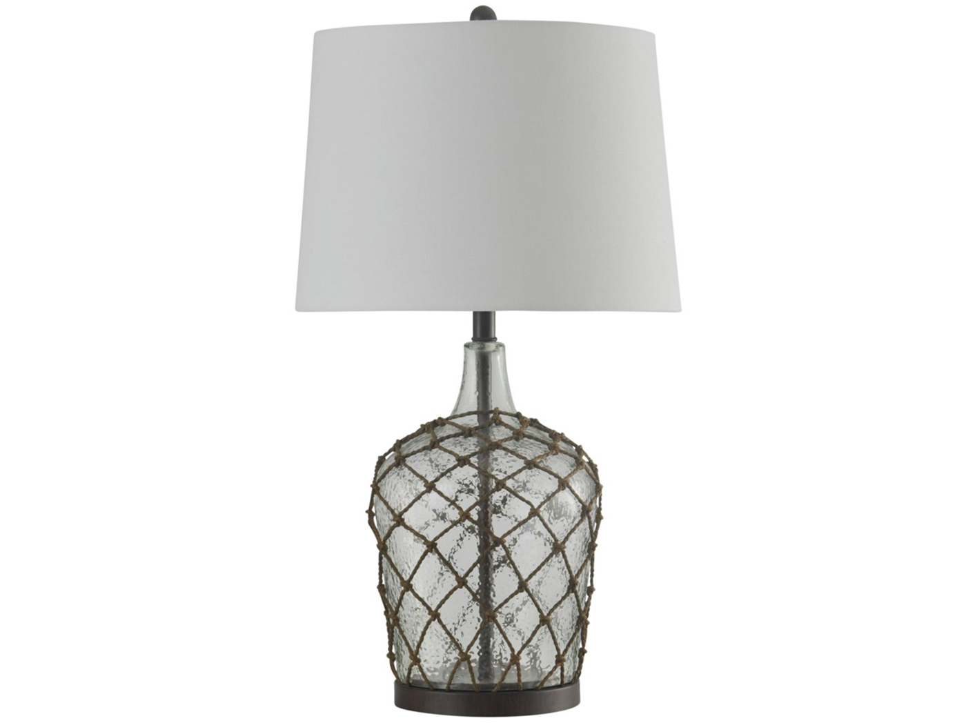 "Clear Glass Netted Table Lamp 29""H"