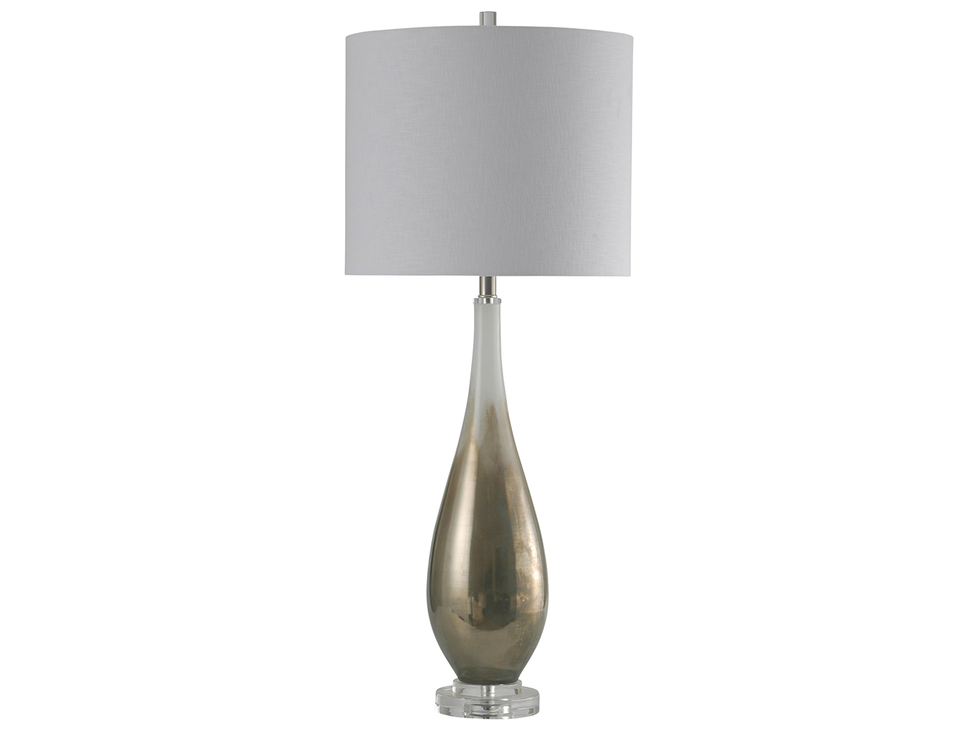 "White and Bronze Glass Table Lamp 39""H"