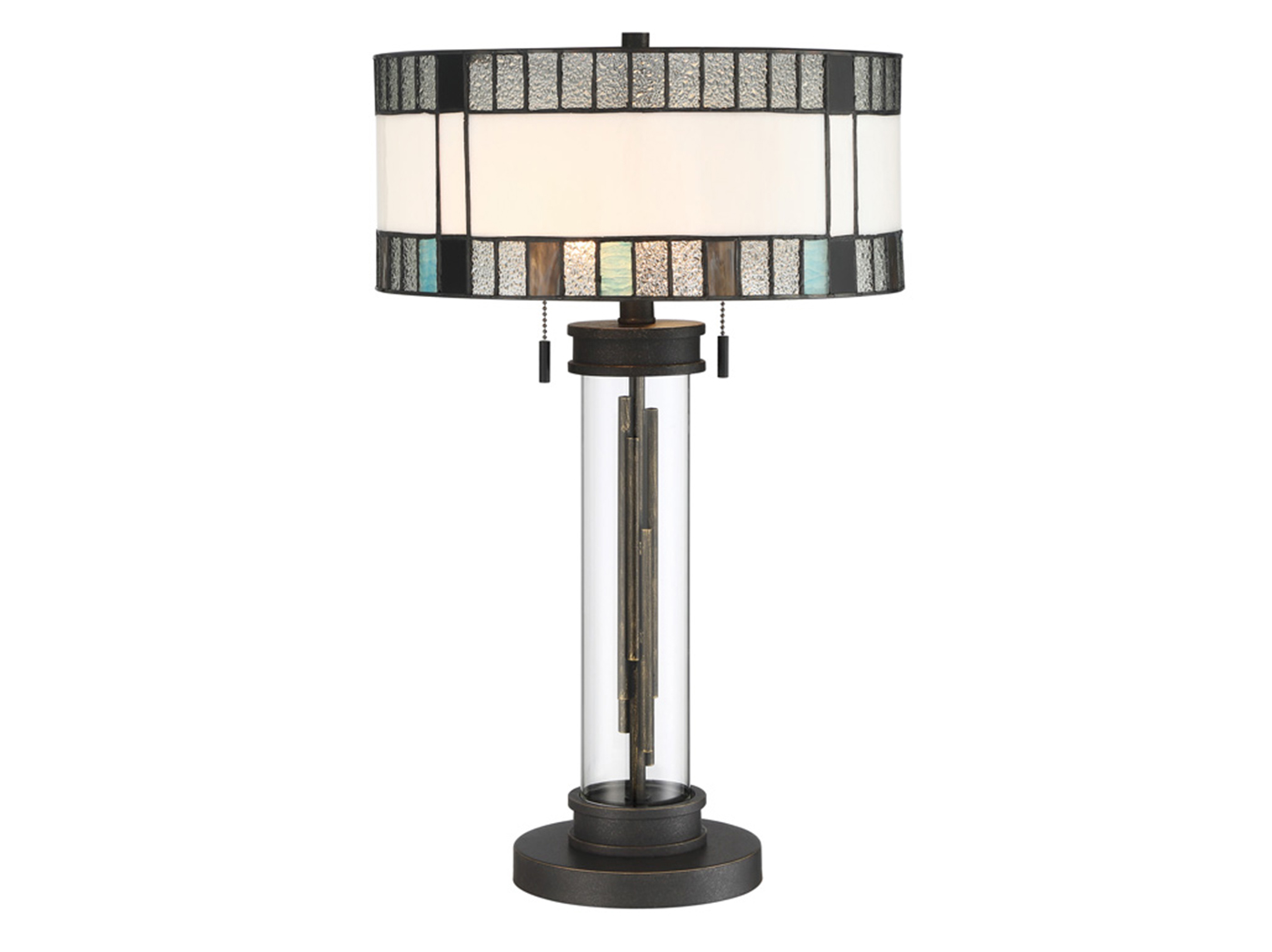 "Black, Grey, Blue Tiffany-Style Glass Table Lamp 24""H"