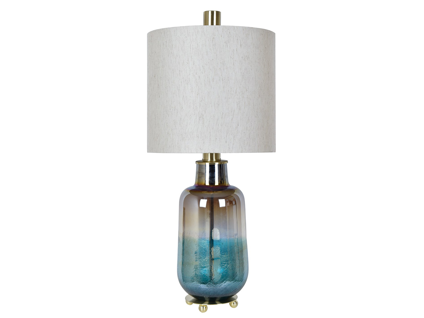 "Blue Iridescent Glass Table Lamp 32.5""H"