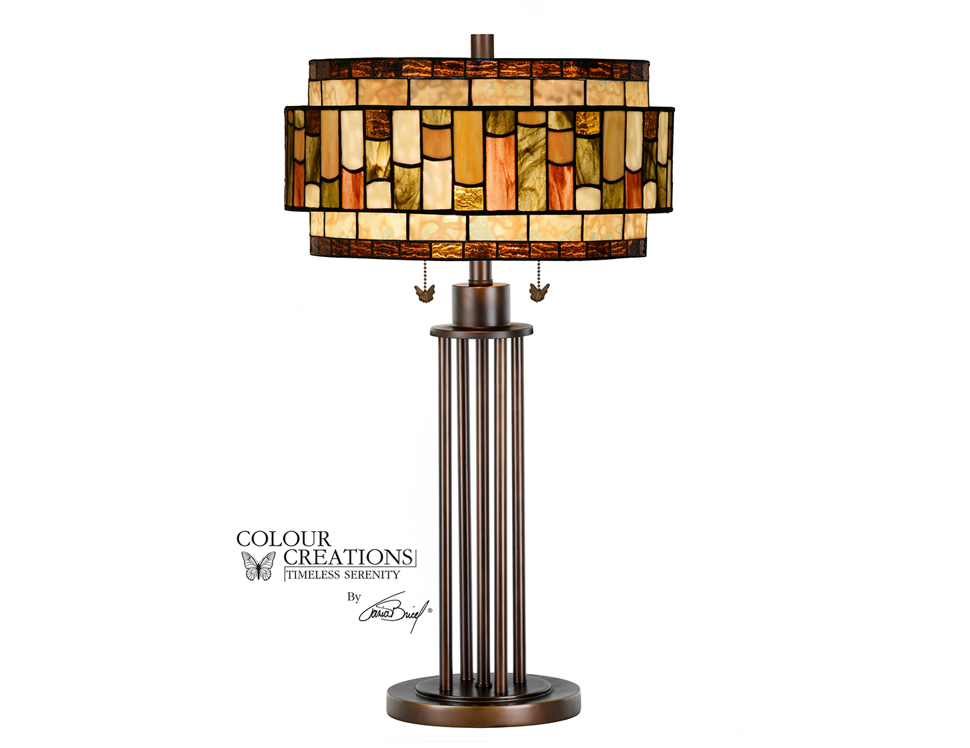 "Brown Tones Drum Shade Tiffany-Style Glass Table Lamp 29.75""H"