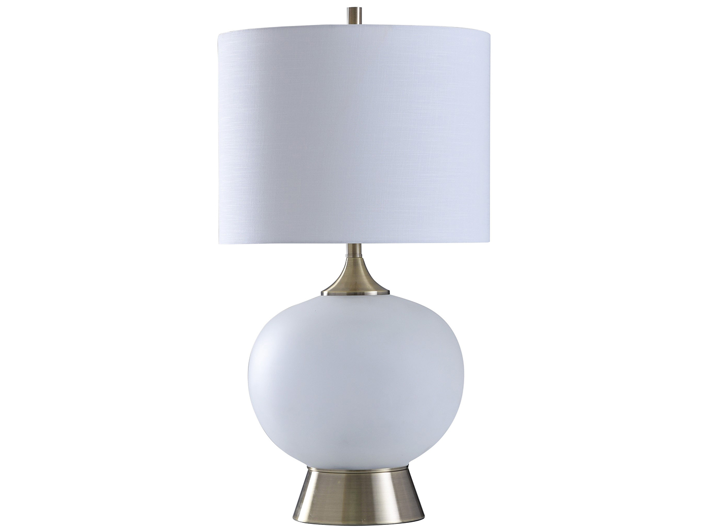 "White Opaque Glass Globe Table Lamp 32""H"