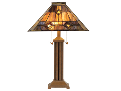 "Hemlock Browns Tiffany-Style Glass Table Lamp 26""H"