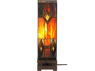 Hemlock Browns Tiffany-Style Glass Lamp 6X6X21H