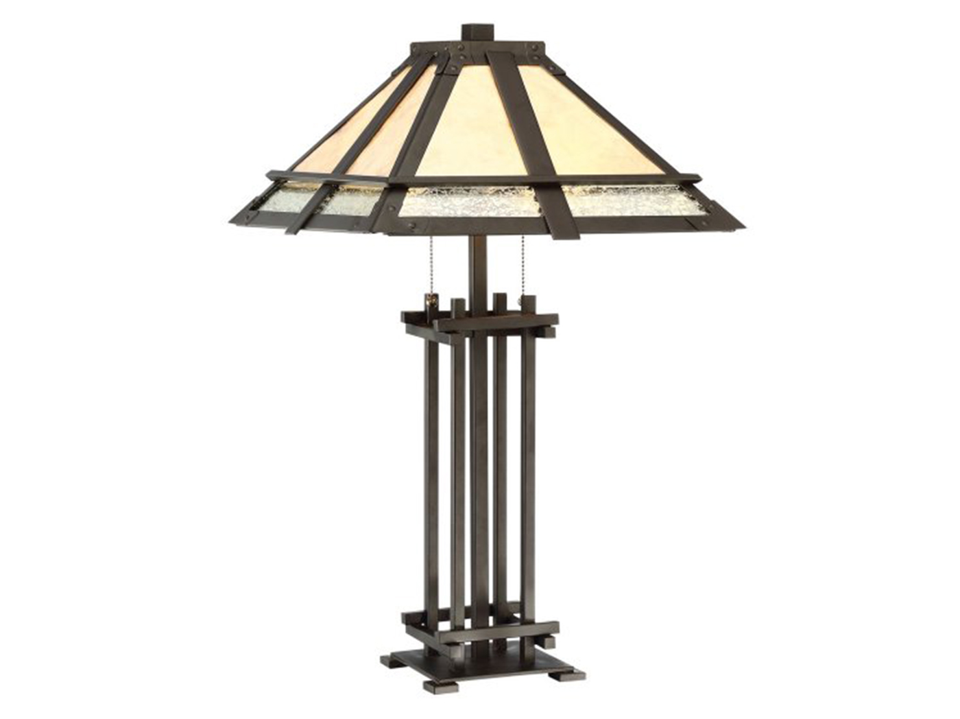 "Mica Glass Tiffany Style Table Lamp 27""H"