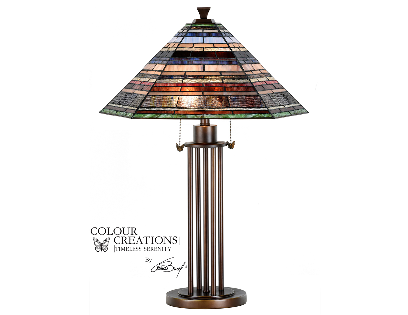"Multi-Colored Tiffany-Style Glass Table Lamp 29.75""H"