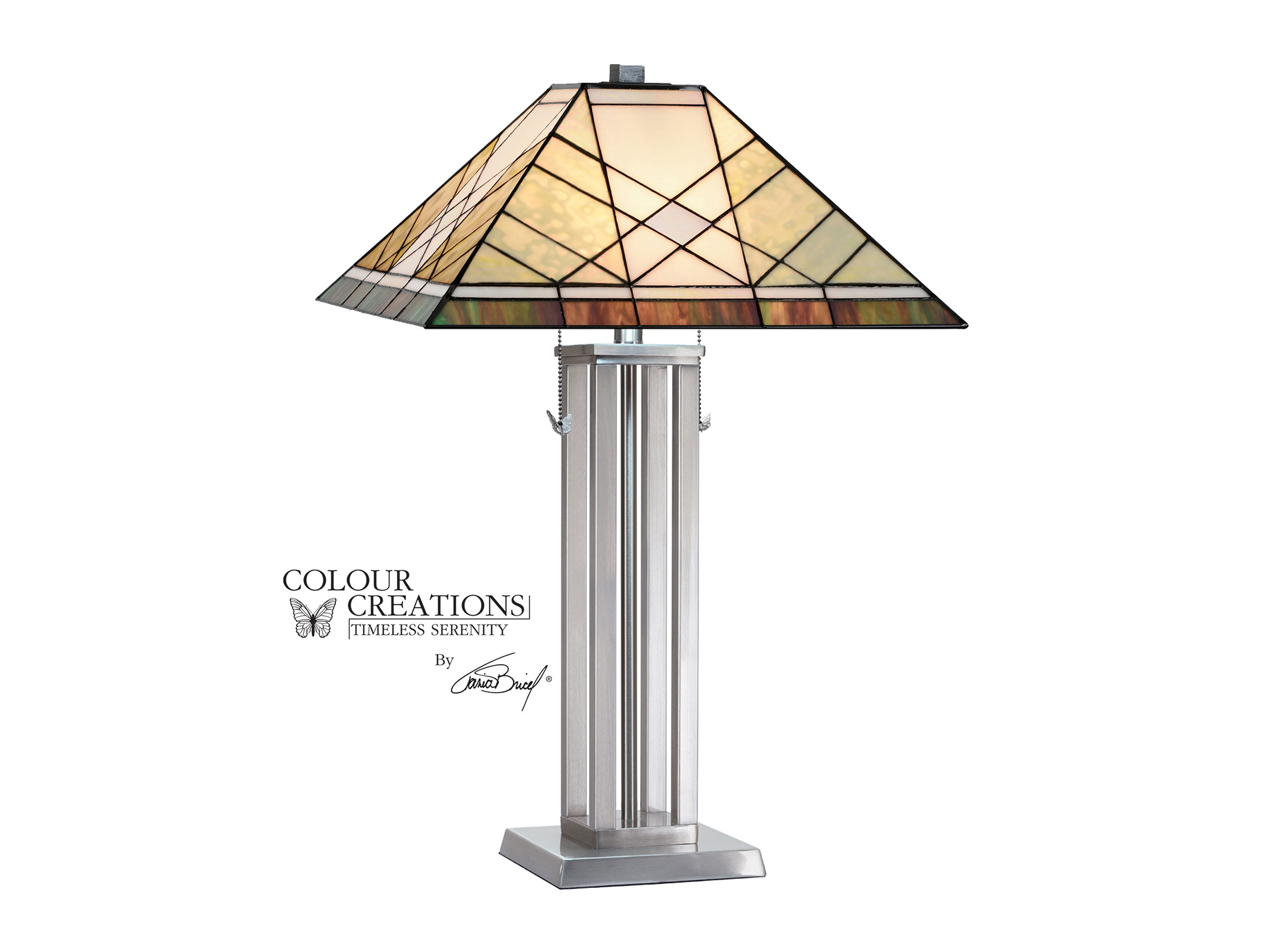 "Grey and Cream With Dark Silver Base Tiffany-Style Glass Table Lamp 29.75""H"