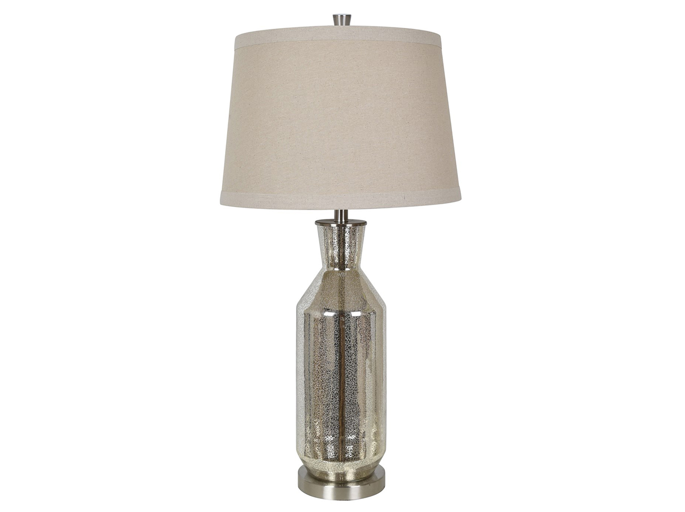 "Silver Mercury Glass Table Lamp 34""H"