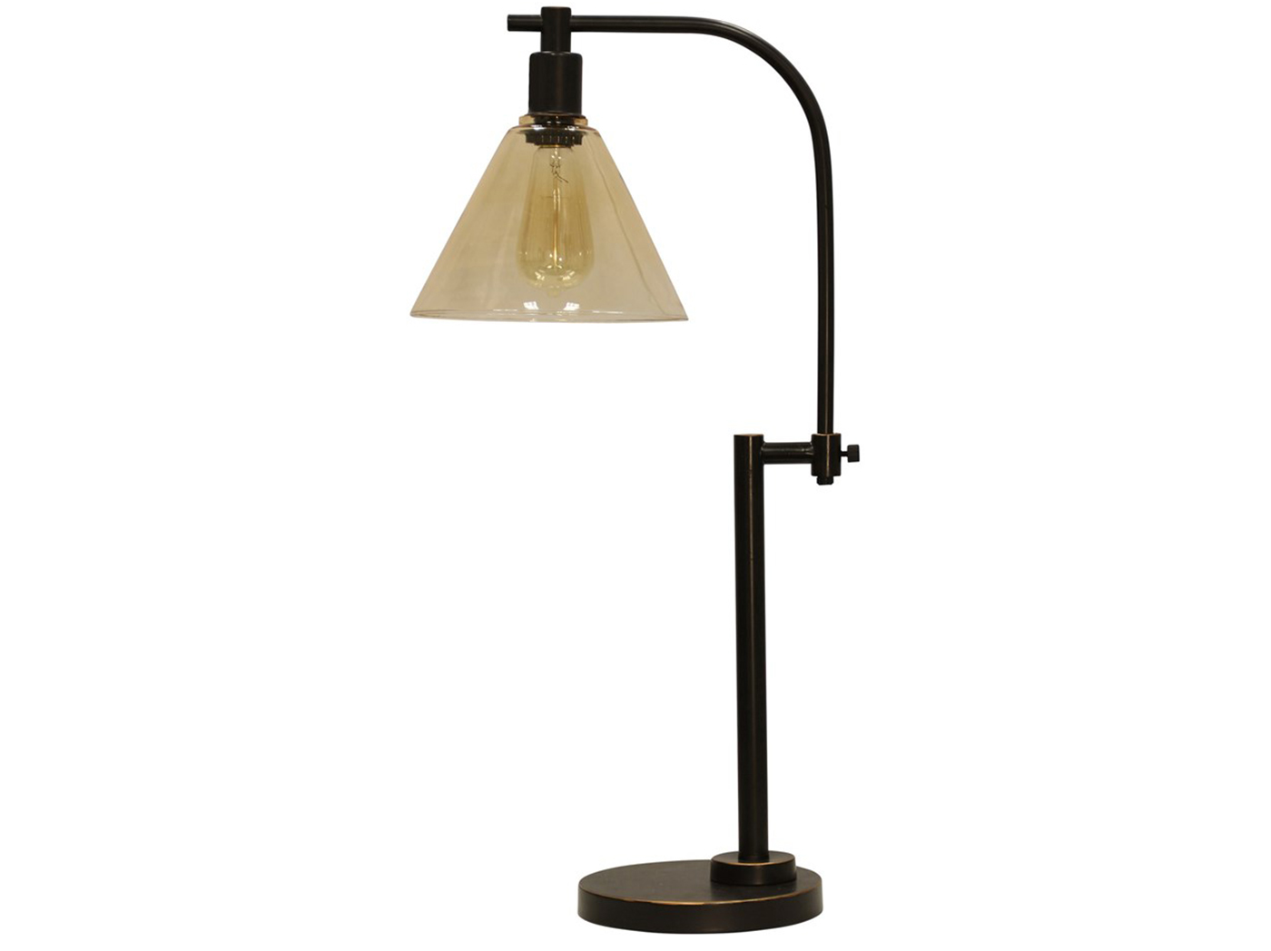 "Bronze Steel With Glass Shade Table Lamp 29""H With Bulb"