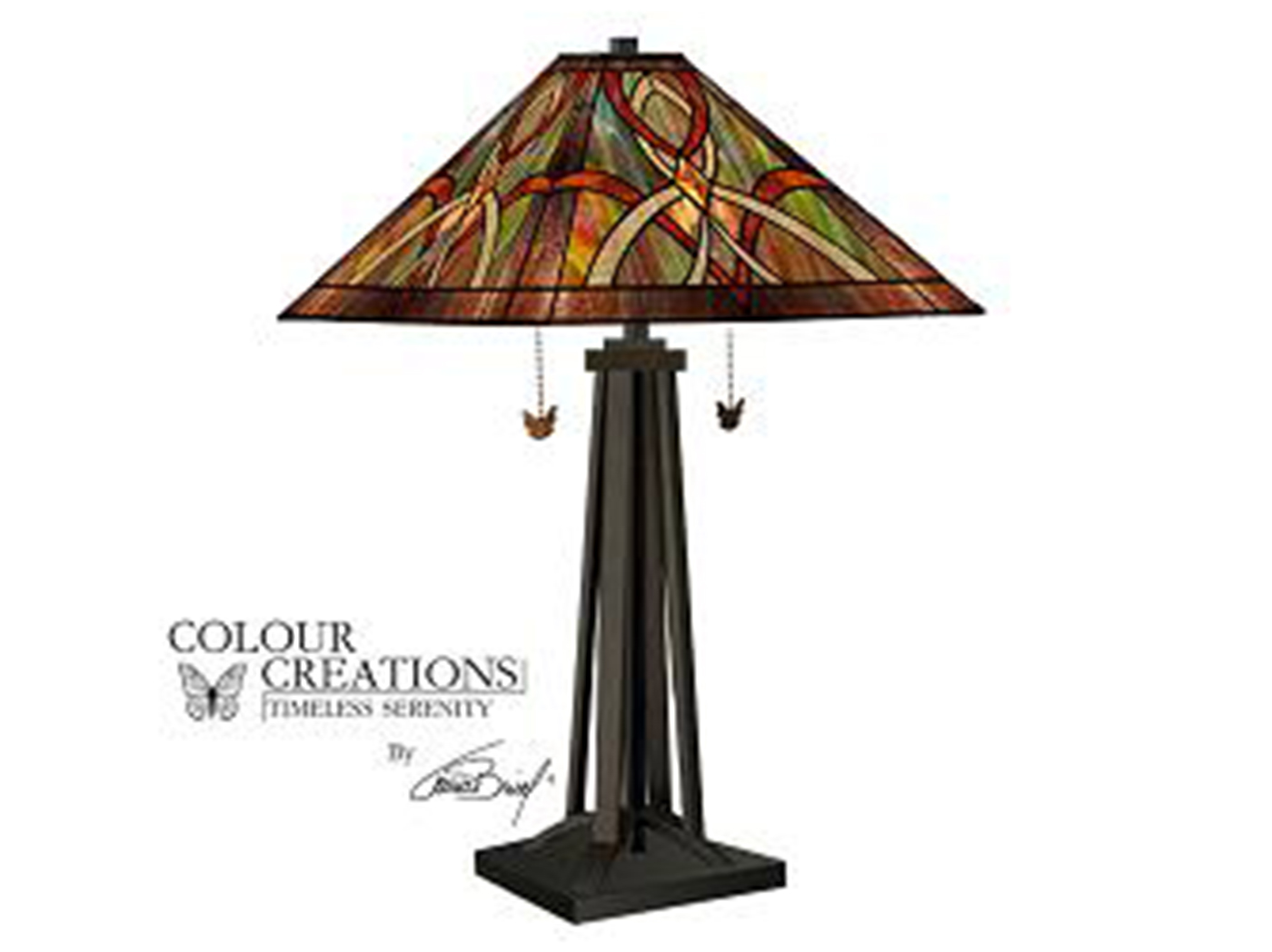 "Tiffany-Glass Style Imperial Table Lamp 30""H"