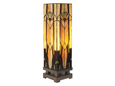 "Marley Tiffany-Style Glass Luminary Lamp 6""W x 21""H"