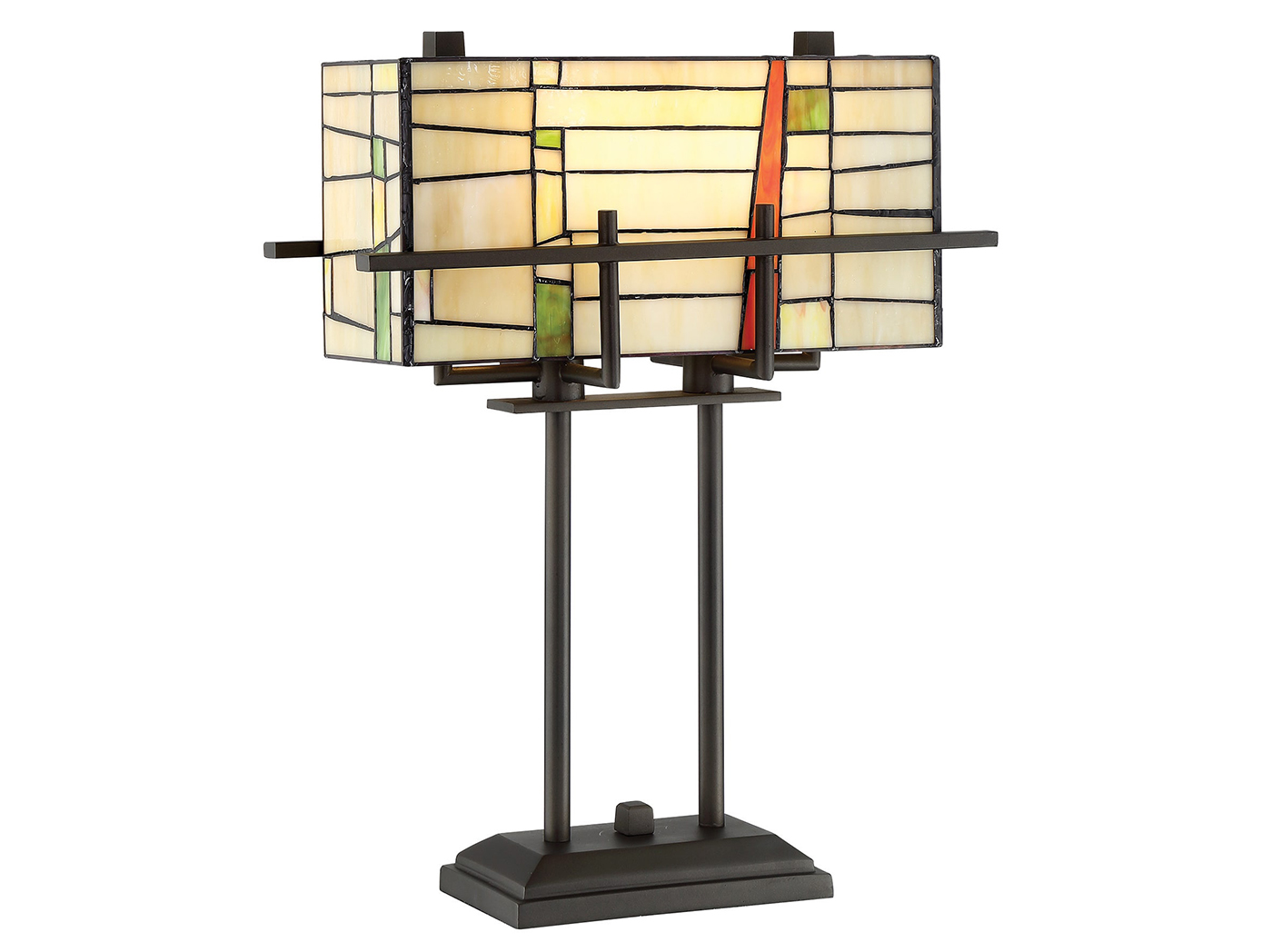 "Cream, Green, and Red Rectangular Shade Tiffany-Style Glass Table Lamp 21""H"