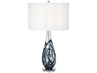 "Sapphire Art Glass Table Lamp 34""H"