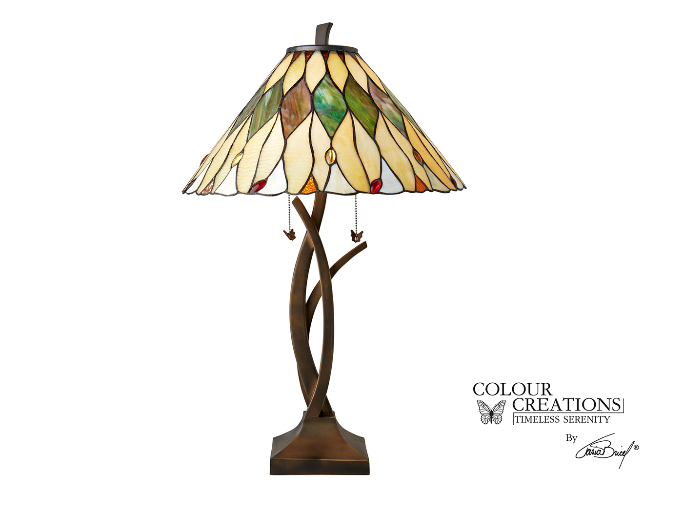 "Palm Leaf Tiffany-Style Glass Table Lamp 31""H"