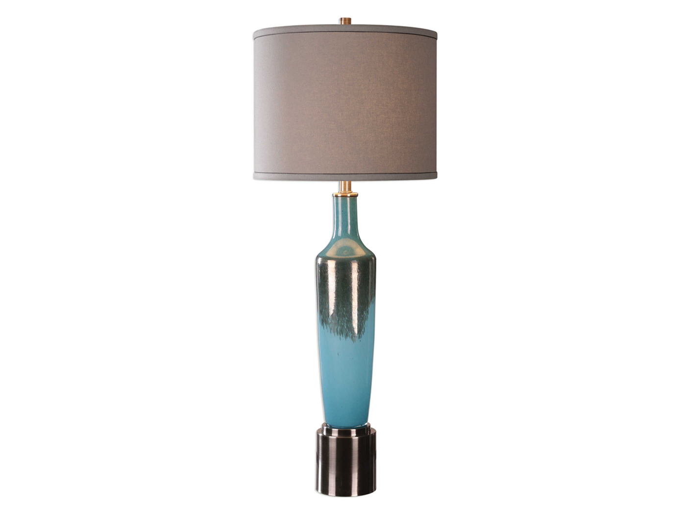 Bronze Drip And Blue Glass Table Lamp