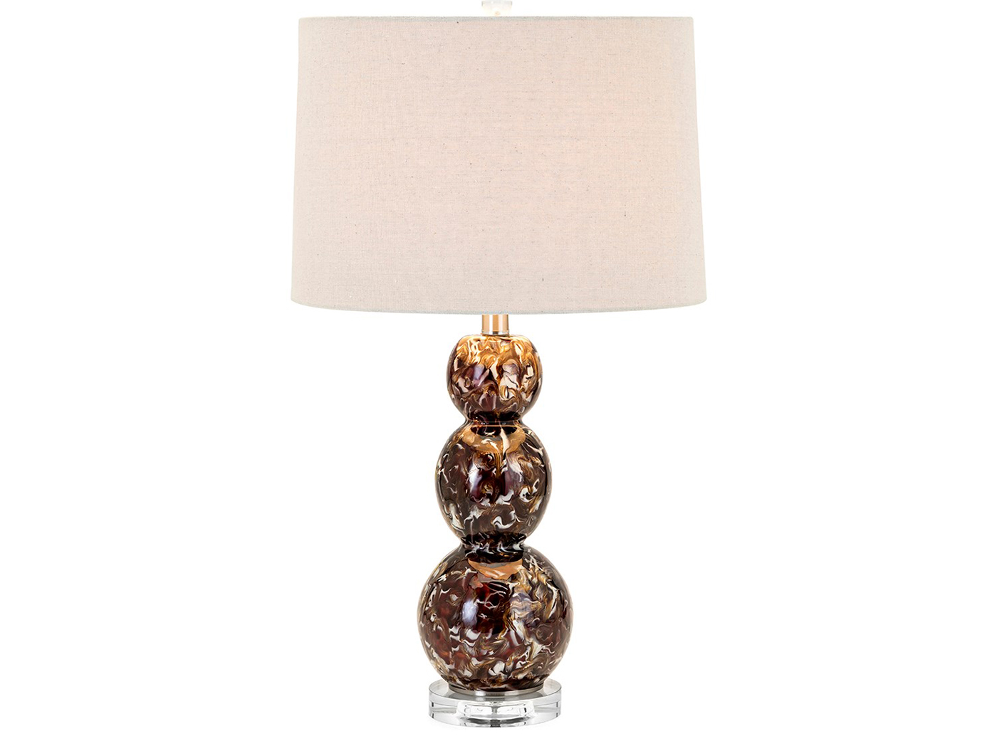 "Brown/White Glass Table Lamp 27.5""H"