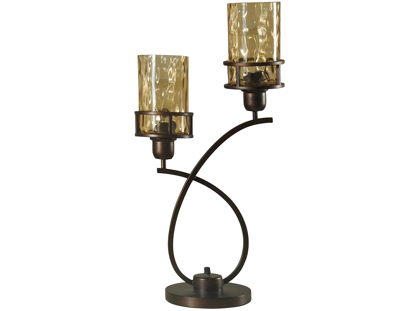 "2-Lite Bronze and Smoke Glass Shade Table Lamp 26""H With Bulbs"