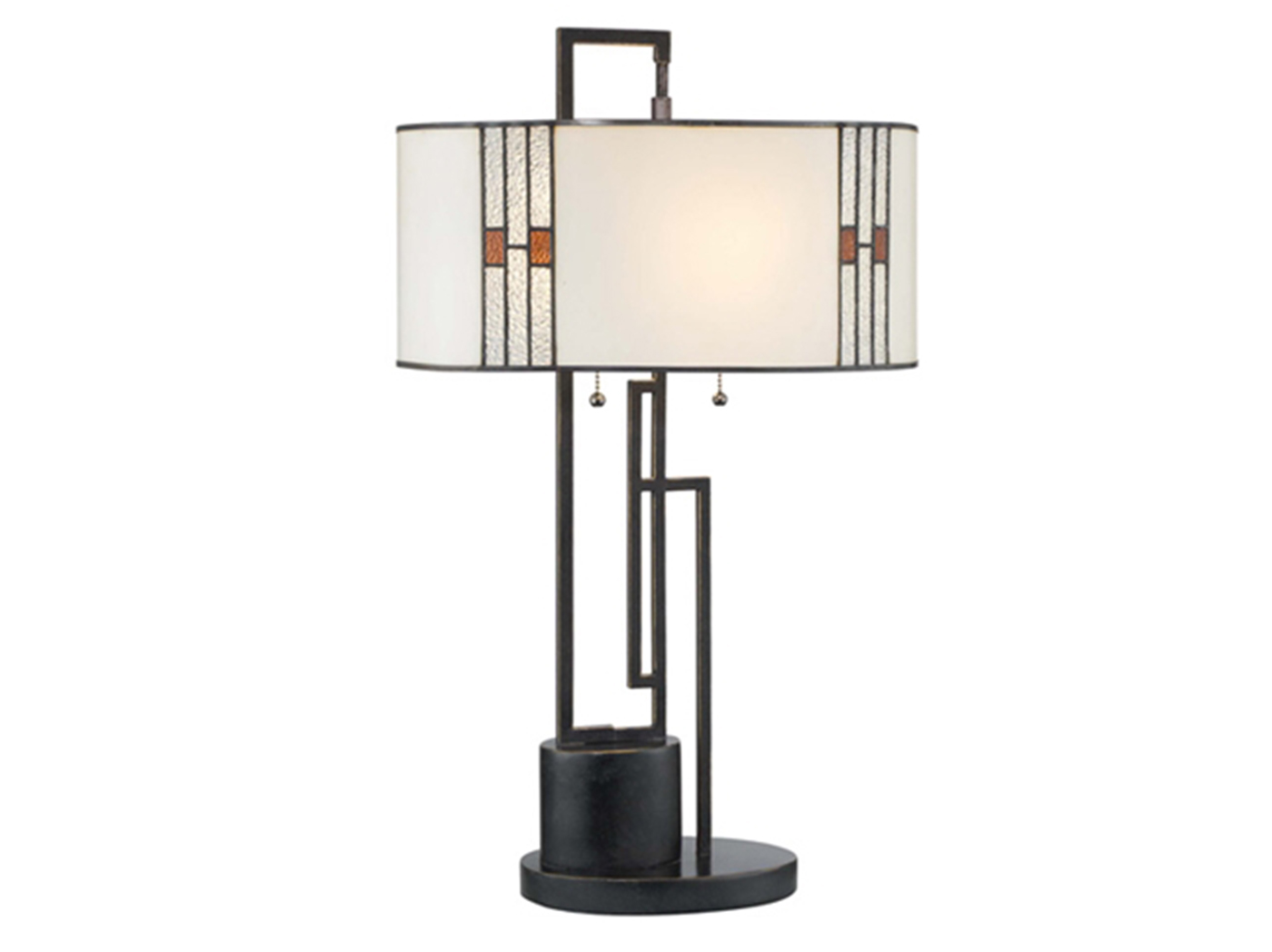 "White and Bronze Tiffany-Style Glass Table Lamp 26""H"