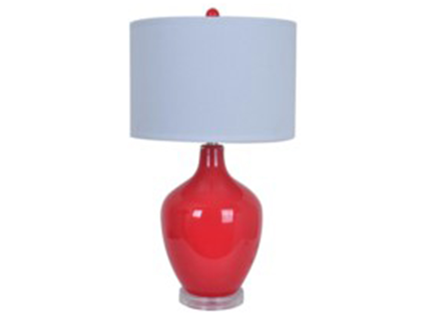 "Red Glass Table Lamp 27""H"